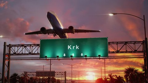Airplane Take off Krk during a wonderful sunset