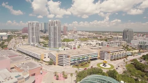 Aerial view, showing the Skyline of Tampa, with beautiful Clouds.