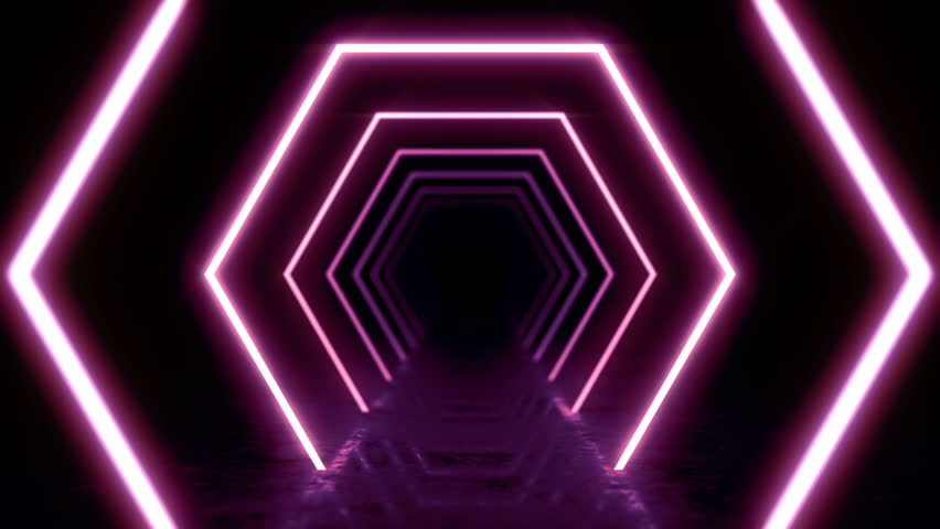 Abstract background with animation of flight in abstract futuristic tunnel with neon light. Animation of seamless loop.  | Shutterstock HD Video #1025051090