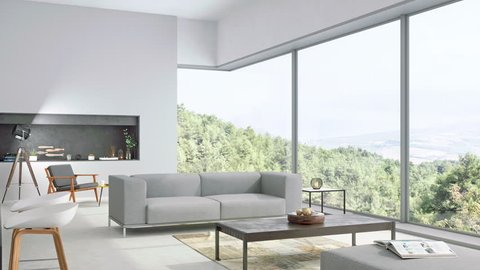 Modern living room and kitchen interior with nature view - 3d Rendering