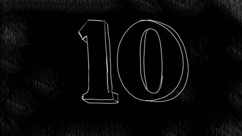 2d Animation motion graphics showing a drawing of a count down or countdown of numbers from 10 to 0  on white in black background in HD high definition.