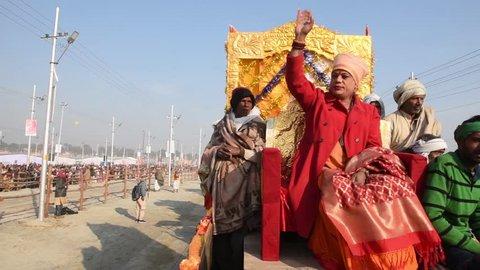 Allahabad / India 15 January 2019 Group of transgender or hijra or third gender sadhus going to take a dip in Sangam during Shahi Snan at Prayagraj Kumbh Mela in Allahabad Uttar Pradesh India