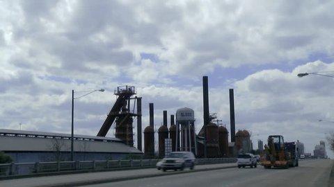 Cars Travel on the Viaduct in Birmingham, Alabama