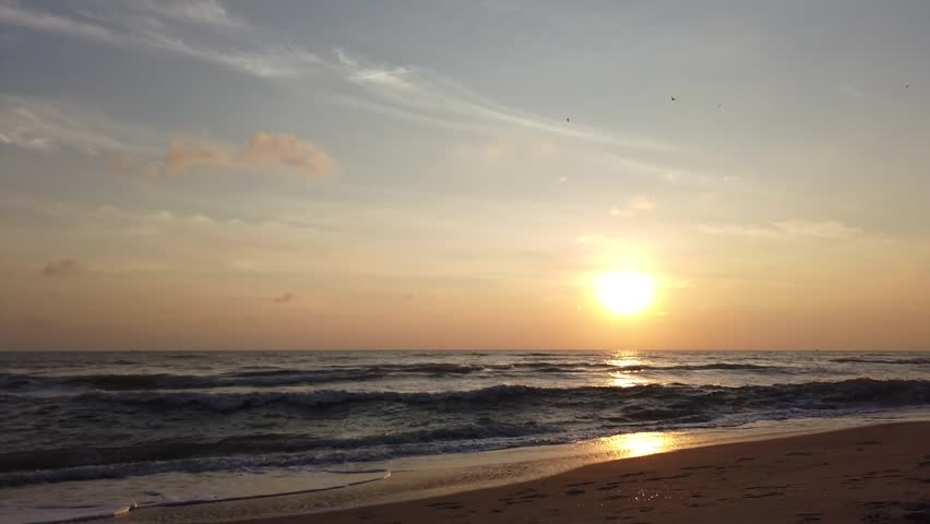 Beautiful sunrise tropical beach. With noise blurry background. | Shutterstock HD Video #1025193440