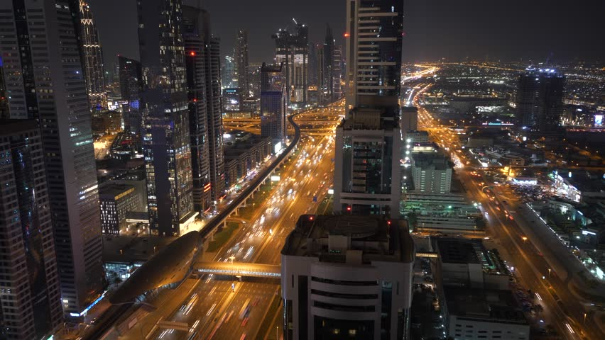 Cityscape View of Dubai Skyline and Urban Roads in the United Arab Emirates | Shutterstock HD Video #1025235650