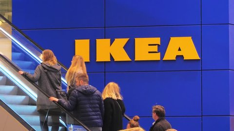 LUBECK, GERMANY- JANUARY 12, 2018 : IKEA, Consumers at the furniture Store in Lubeck, Germany