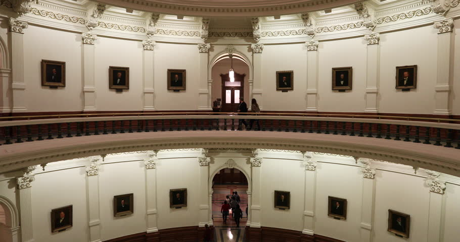 AUSTIN, TEXAS - 27 JAN 2019: Texas State Capital balcony view interior floors tourists. State Capital dome balcony levels Austin. Government of the American state of Texas. Downtown.