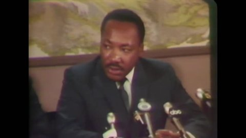 CIRCA 1968 - In an interview with the press, Martin Luther King discusses plans for the upcoming Washington march.