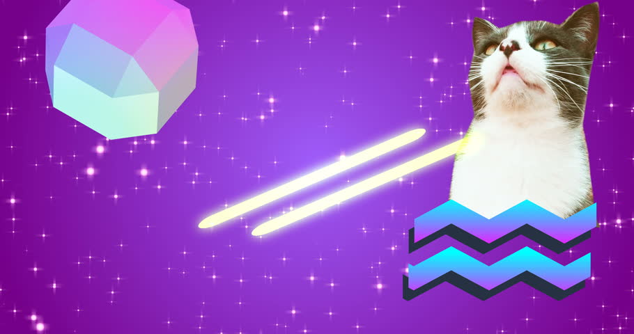Minimal animation art. Gif design. Cat eye lasers | Shutterstock HD Video #1025361470