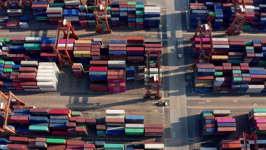 Kwai Tsing , Hong Kong 04 March 2019:-Kwai Tsing Container Terminals in Hong Kong | Shutterstock HD Video #1025378990
