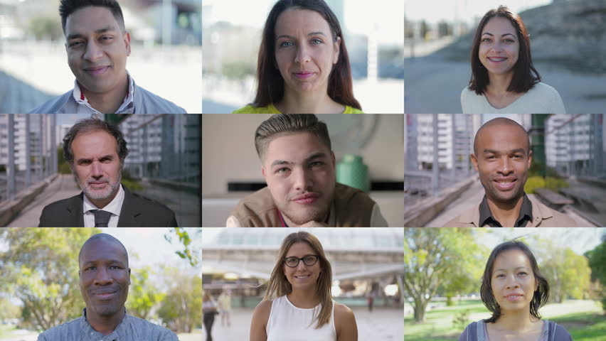 Collage of people of different races looking at camera, smiling. Lifestyle concept | Shutterstock HD Video #1025389760