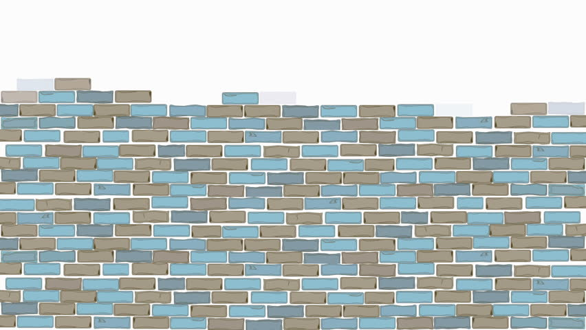 Brick wall construction. Red and blue bricks installing, building wall. Concept of construction, protection, craftsmanship and module structure. Foggy background.