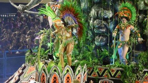 RIO DE JANEIRO, BRAZIL- MARCH 05, 2019: Samba school parade Unidos de Vila Isabel during the 2019 carnival in Rio de Janeiro, the Sambodromo