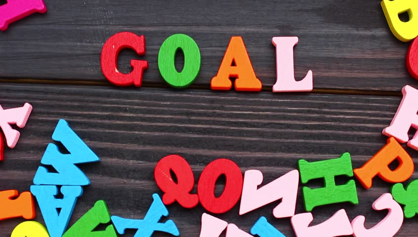 The word goal with colored letters