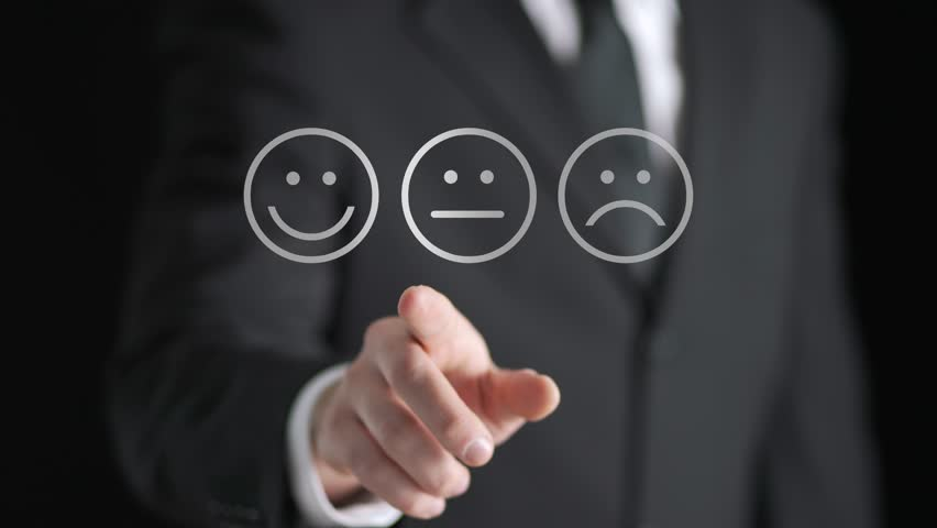 Survey, giving feedback, poll questionnaire and customer experience concept. Business man push digital touch screen to tell positive opinion, rating or review. Abstract smiley face technology.