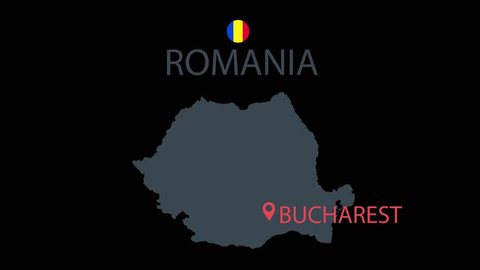 Romania countrie map animation. Cartoon countrie map icon animation.