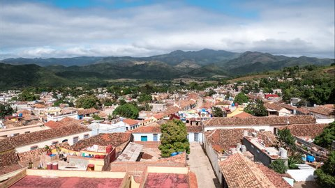 Trinidad Cuba, view over historic city time-lapse
