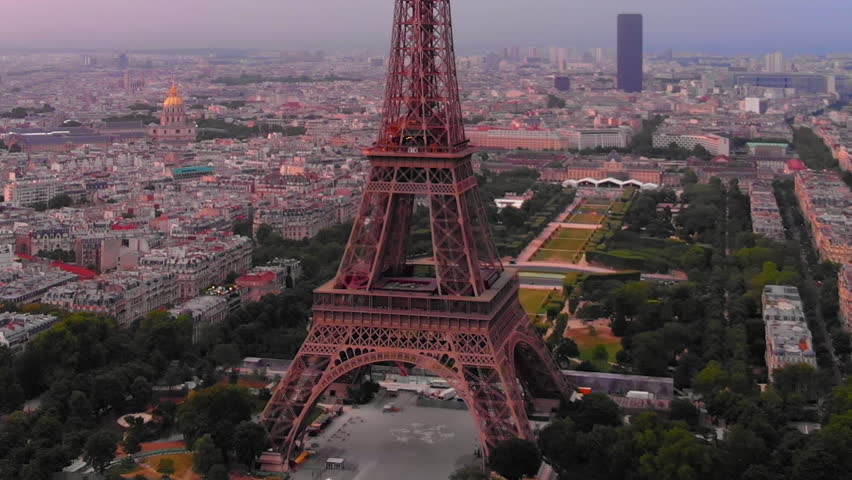 Aerial view to Eiffel tower and Seine´river at sunrise, Paris, France | Shutterstock HD Video #1025482970