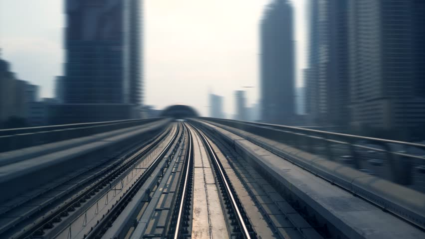 Railway Train View Driving Through Modern City Skyline District | Shutterstock HD Video #1025503070
