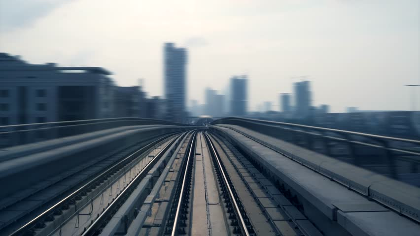 Railway Train View Driving Through Modern City Skyline District | Shutterstock HD Video #1025503070