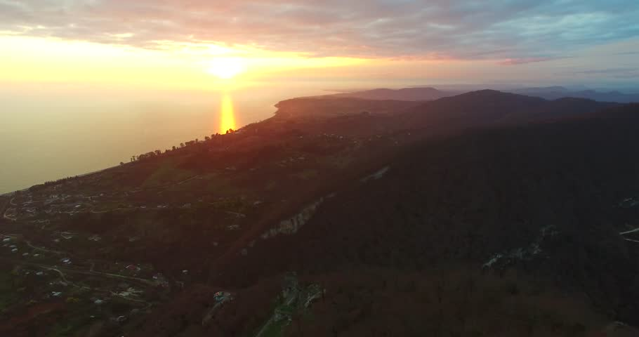 Aerial view of sunset over New Athos, Abkhazia. | Shutterstock HD Video #1025516840