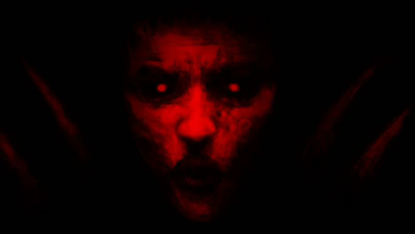 Devilish woman appears from dark and kisses. Animation in genre of fantasy. Red color. | Shutterstock HD Video #1025517590