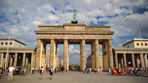 BERLIN, GERMANY - MAY 2, 2009 Time Lapse of Berlin City People Visit Brandenburg Gate Famous Sightseeing Day
