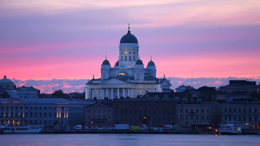 Time Lapse of Helsinki Skyline Iconic Cathedral and Ferry Boats Dusk to Night