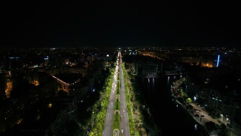 Aerial Romania Bucharest June 2018 Night 15mm Wide Angle 4K. Aerial video of downtown Bucharest in Romania at night with a wide angle lens.