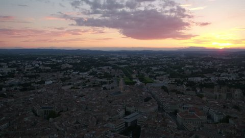 Aerial France Montpellier August 2018 Sunset 30mm 4K Inspire 2 Prores  Aerial video of downtown Montpellier in France at sunset.