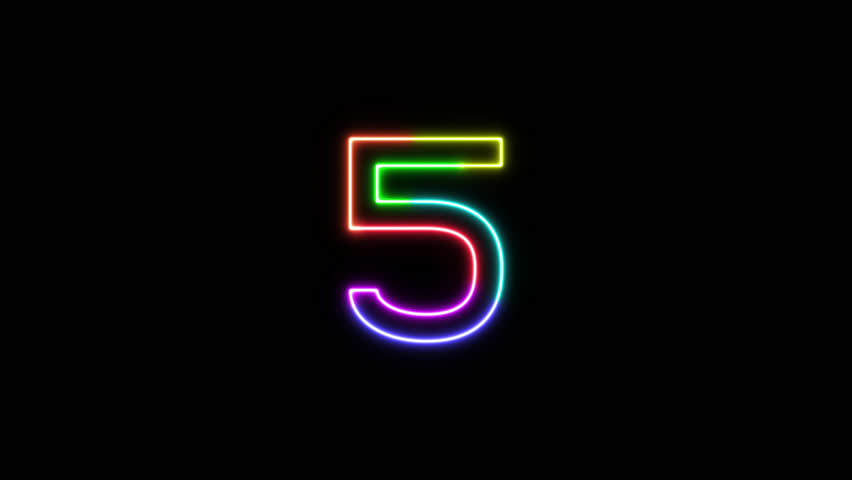 Number 5 - outline neon glowing in 7 rainbow colors on transparent background for intros, logo. Seamless loop. Fun animated font. 7 colors neon symbol. 4k video. Alpha channel | Shutterstock HD Video #1025586860