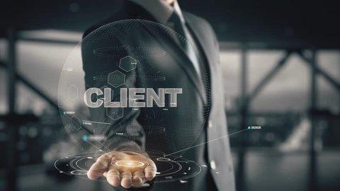 Client with hologram businessman concept