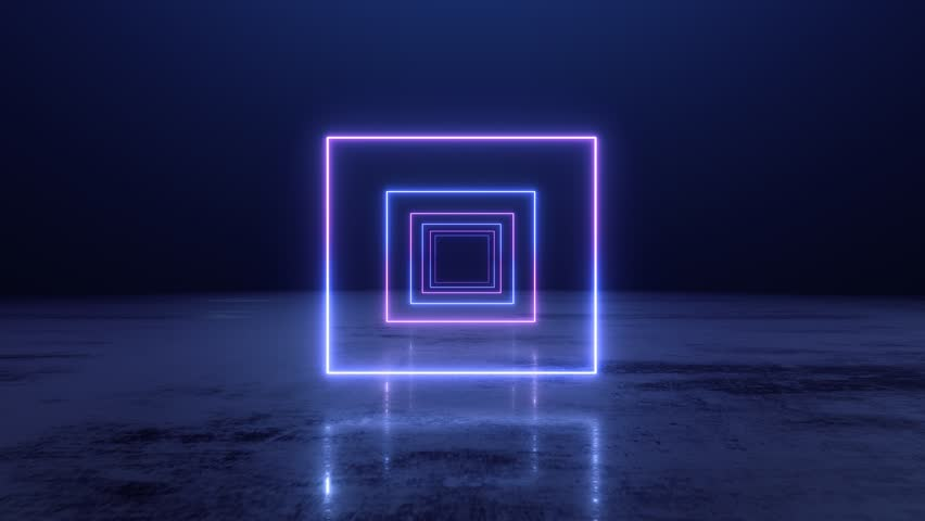 VJ abstract Neon square tunnel