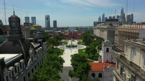 Aerial view of May Square and Casa Rosada, Casa de Gobierno - Office of President Buenos Aires, Argentina