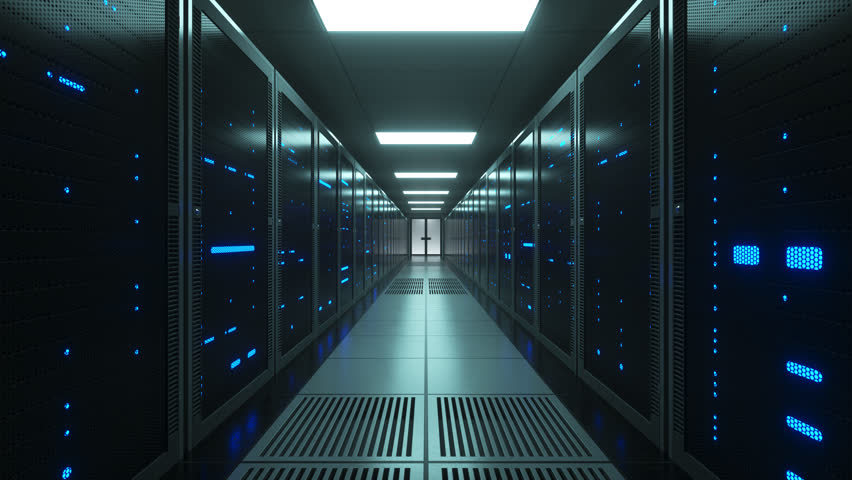 Racks of futuristic network and data servers with mesh covers in a server room of a data center. Forward Dolly Shot, 4K High Quality Animation | Shutterstock HD Video #1025735360