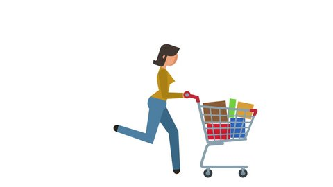Stick Figure Pictogram Girl Run with Shopping Cart Character Flat Animation