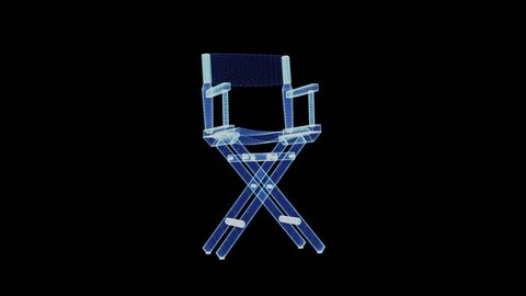 The hologram of a director's chair. 3D animation of headmaster chair on a black background with a seamless loop