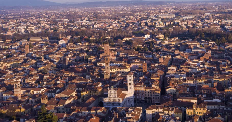 Aerial View of Lucca at Sunset, Tucany, Italy | Shutterstock HD Video #1025794400