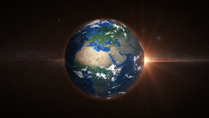 3D Earth loop rotation in space with lens flare effects. 4K resolution. Realistic and very high quality. Seamlessly loopable.  | Shutterstock HD Video #1025816390