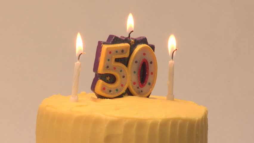 50th Birthday Cake With Candle