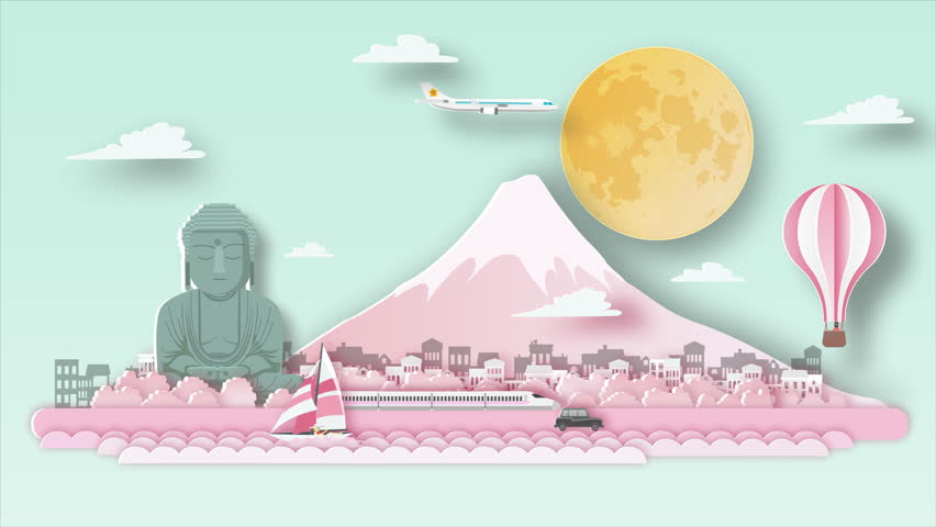 Japan Fuji cherry blossoms travel background video animation ,flat cartoon and paper art landmarks concept, motion graphic  background | Shutterstock HD Video #1025844500
