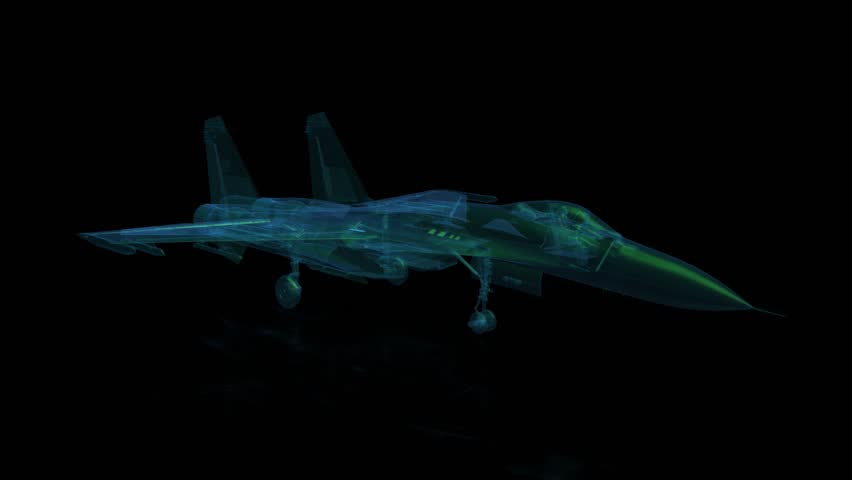 Fighter jet in flight from abstract xray. Rotating seamless loop. Digital technology visualization of 3d. Looping motion animated.