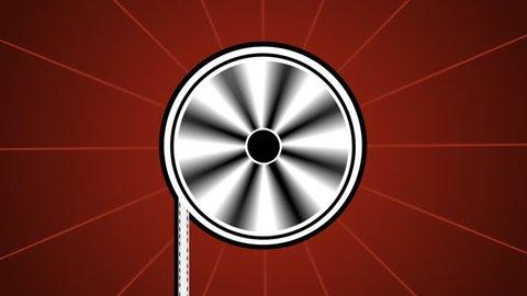 Stylized minimalistic graphic / animation of film / movie reel rotating