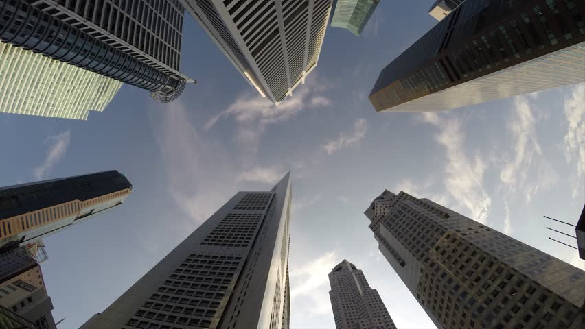 Golden Look-Up Time-lapse of Singapore Business District