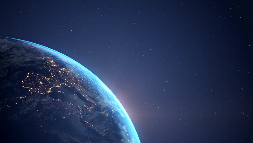 Videoanimation of planet Earth - flying through space - sunrise | Shutterstock HD Video #1025902460