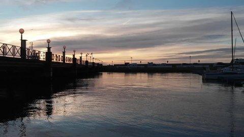 Helsingborg, Skane / Sweden - 01 05 2019: Helsingborg harbor and arriving ferry.