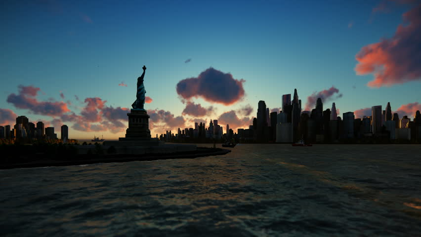 Statue of Liberty and ships sailing, Manhattan, New York City, beautiful sunrise, 4K | Shutterstock HD Video #1025905760