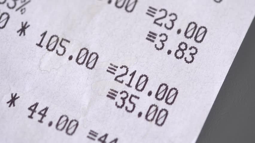 The printed receipt from supermarket close up | Shutterstock HD Video #1025926610