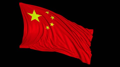 Chinese flag in slow motion. The flag develops smoothly in the wind. Wind waves spread over the flag. This version of the flag in smooth motion is suitable for almost any video