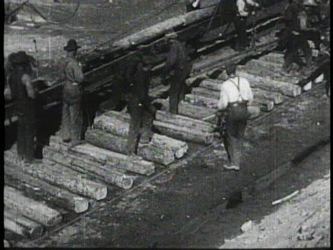 HIGH SIERRA, CALIFORNIA, 1905, Archival footage of rail track laying team